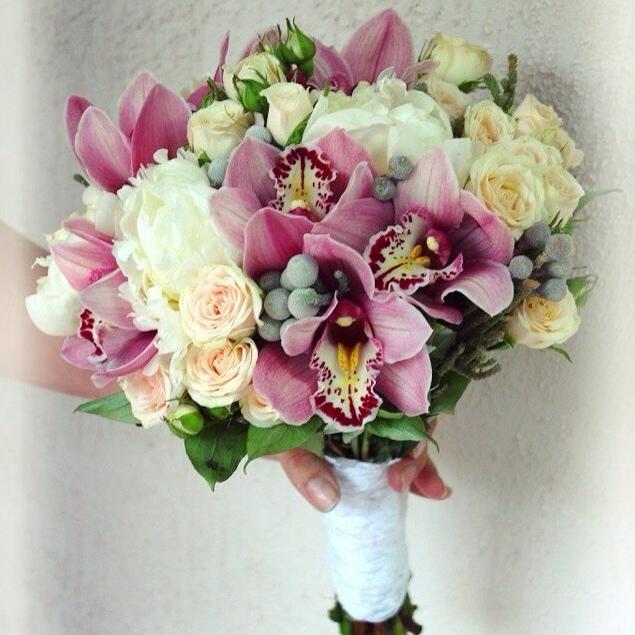 Магазине цветы, подарочный букет из орхидей свадебный